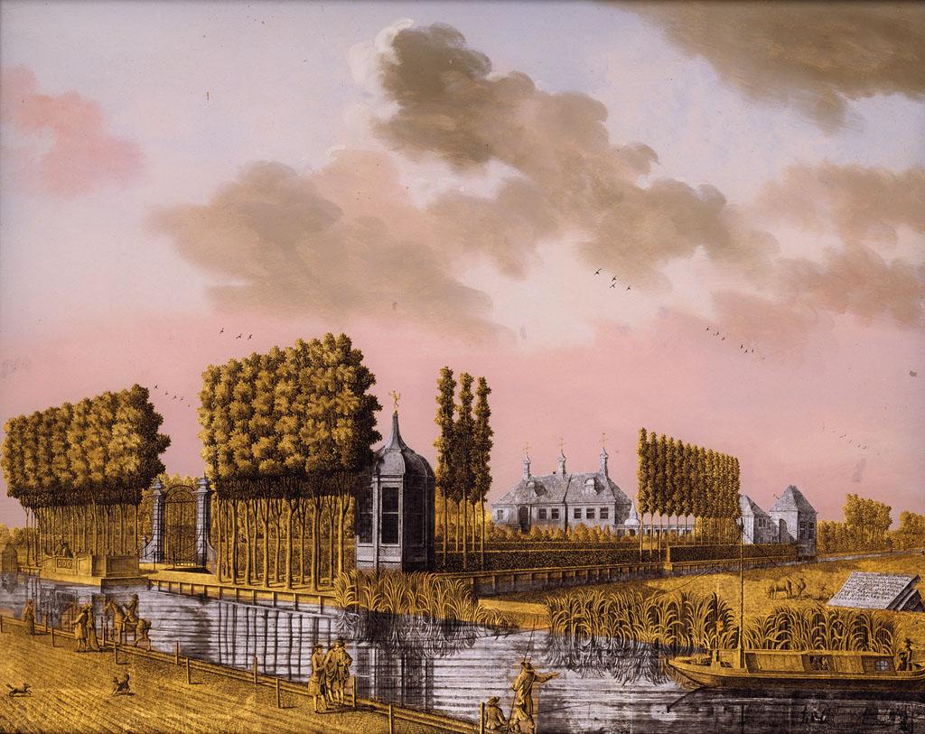 Jonas Zeuner, Gezicht op de buitenplaats Soelen,  1775, bladgoud  bladzilver  glas  hout, Amsterdam Museum
